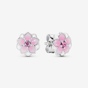 Pandora Pink Magnolia Flower Stud Earrings